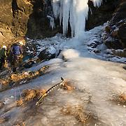 "Preparing to climb "" 55° "" WI 4 at Búahamrar, Iceland."