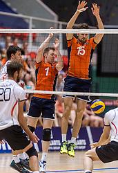 05-06-2016 NED: Nederland - Duitsland, Doetinchem<br /> Nederland speelt de laatste oefenwedstrijd ook in  Doetinchem en speelt gelijk 2-2 in een redelijk duel van beide kanten / Daan van Haarlem #1, Thomas Koelewijn #15