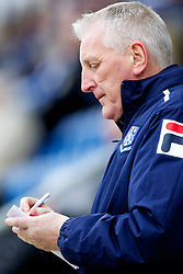 COLCHESTER, ENGLAND - Saturday, February 23, 2013: Tranmere Rovers' manager Ronnie Moore writes down notes during the Football League One match against Colchester United at the Colchester Community Stadium. (Pic by Vegard Grott/Propaganda)