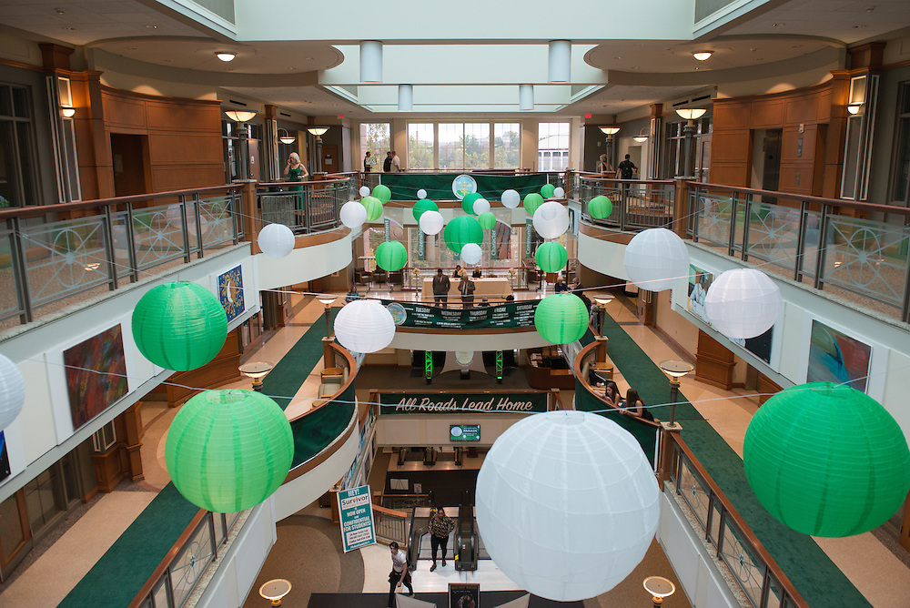 Decorations stretch across the atrium during the 2016 Alumni Awards Gala at Ohio University's Baker Center on Friday, October 07, 2016.