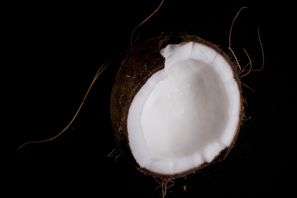 Closeup cross section of coconut.