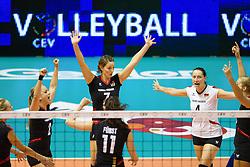24.09.2011, Hala Pionir, Belgrad, SRB, Europameisterschaft Volleyball Frauen, Vorrunde Pool A, Deutschland (GER) vs. Ukraine (UKR), im Bild Jubel Deutschland: Kathleen Weiss (#2 GER), Margareta Kozuch (#14 GER / Sopot POL), antiof07, Christiane Fürst / Fuerst (#11 GER / Istanbul TUR), Kerstin Tzscherlich (#4 GER / Dresden GER), Maren Brinker (#15 GER / Pesaro ITA) // during the 2011 CEV European Championship, First round at Hala Pionir, Belgrade, SRB, 2011-09-24. EXPA Pictures © 2011, PhotoCredit: EXPA/ nph/  Kurth       ****** out of GER / CRO  / BEL ******