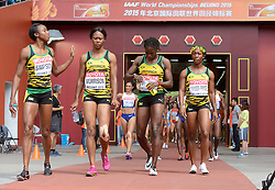 29-08-2015 CHN: IAAF World Championships Athletics day 7, Beijing<br /> Sherone SIMPSON, Natasha MORRISON, Kerron STEWART and Shelly-Ann FRASER-PRYCE JAM Photo by Ronald Hoogendoorn / Sportida