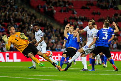 Harry Kane of England shot is saved by Mihkel Aksalu of Estonia - Mandatory byline: Jason Brown/JMP - 07966 386802 - 09/10/2015- FOOTBALL - Wembley Stadium - London, England - England v Estonia - Euro 2016 Qualifying - Group E