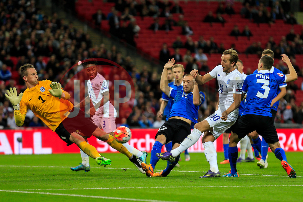 Harry Kane of England shot is saved by Mihkel Aksalu of Estonia - Mandatory byline: Jason Brown/JMP - 07966 386802 - 09/10/2015- FOOTBALL - Wembley Stadium - London, England - England v Estonia - Euro 2016 Qualifying - Group E