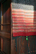 detail of an old style Japanese closet with fabric cloth