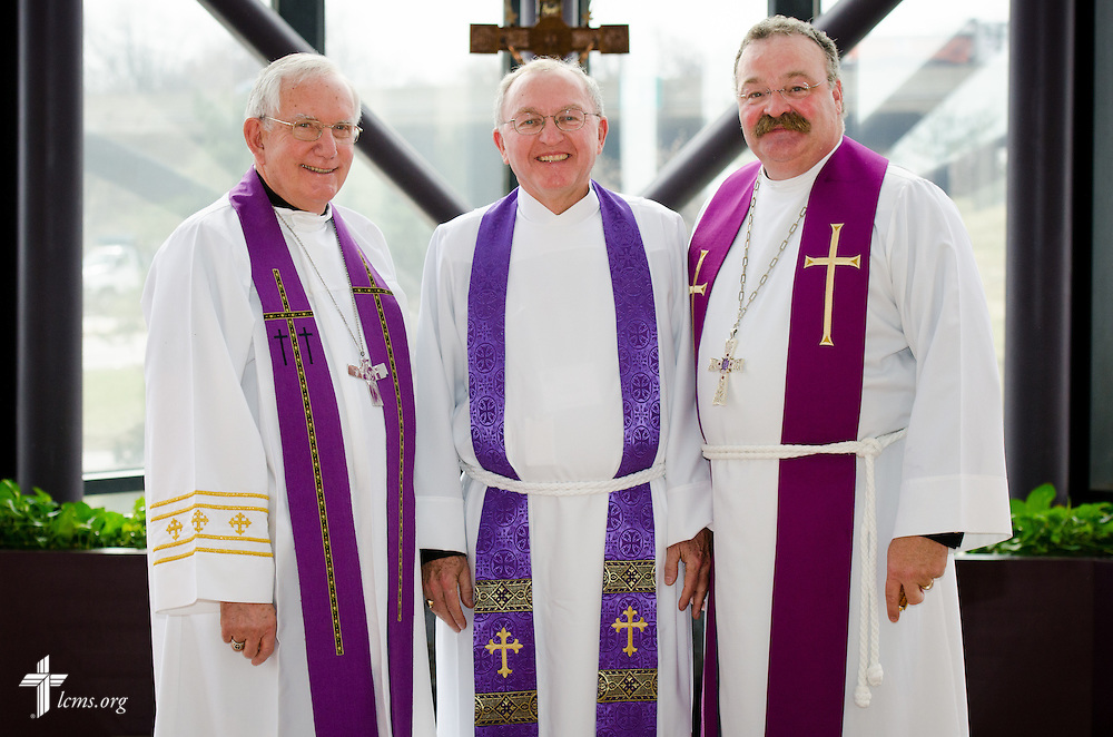 Group portrait of The Rev. Dr. Dean O. Wenthe (center), president of the Concordia University System, the Rev. Dr. Ray Mirly (left), president of the LCMS Missouri District, and the Rev.  Dr. Matthew C. Harrison (right), president of the Lutheran Church--Missouri Synod, after a Service of Installation for Wenthe at the International Center of The Lutheran Church--Missouri Synod on Monday, March 31, 2014, in Kirkwood, Mo. LCMS Communications/Erik M. Lunsford