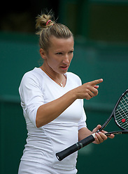 LONDON, ENGLAND - Saturday, July 2, 2011: Kveta Peschke (CZE) in action during the Ladies' Doubles Final match on day twelve of the Wimbledon Lawn Tennis Championships at the All England Lawn Tennis and Croquet Club. (Pic by David Rawcliffe/Propaganda)