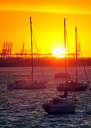© Licensed to London News Pictures. 03/07/2018<br /> Gravesend, UK. Sunrise the River Thames in Gravesend as the hot weather is set to continue. Picture taken from Gordon Promenade looking towards Tilbury. Photo credit: Grant Falvey/LNP