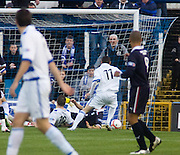Greenock Morton's Andy Jackson (10 on ground) opens the scoring - Greenock Morton v Dundee - IRN BRU Scottish Football League First Division at Cappielow. .- © David Young -.5 Foundry Place - .Monifieth - .Angus - .DD5 4BB - .Tel: 07765 252616 - .email: davidyoungphoto@gmail.com - .http://www.davidyoungphoto.co.uk