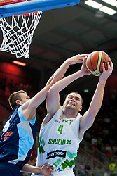 Uros Slokar of Slovenia during friendly match between National teams of Slovenia and Bosnia and Herzegovina for Eurobasket 2013 on August 16, 2013 in Podmezakla, Jesenice, Slovenia. (Photo by Urban Urbanc / Sportida.com)