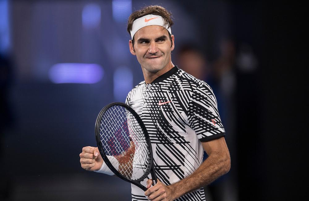 Roger Federer of Switzerland on day five of the 2017 Australian Open at Melbourne Park on January 20, 2017 in Melbourne, Australia.<br /> (Ben Solomon/Tennis Australia)