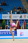 Filiorianu Ana Luiza during qualifying at clubs in Pesaro World Cup 11 April 2015. Ana Luiza was born in July 10, 1999 in Bucharest. She is a very good Romanian individual rhythmic gymnast.