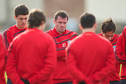 LIVERPOOL, ENGLAND - Wednesday, March 17, 2010: Liverpool's Jamie Carragher training at Melwood Training Ground ahead of the UEFA Europa League Round of 16 2nd Leg match against LOSC Lille Metropole. (Photo by David Rawcliffe/Propaganda)