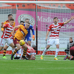 Darian MacKinnon and Chris Cadden go down after clashing heads in the match between Hamilton Accies v Motherwell, Ladbrokes Premiership, The Super Seal Stadium, Saturday 14 October 2017  (c) Angie Isac | SportPix.org.uk
