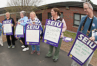 Supporters outside Belknap County Nursing Home prior to their contract vote on Monday afternoon.nn (Karen Bobotas/for the Laconia Daily Sun)