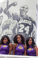 21 June 2010: The Laker Girls pose in front of a picture of Kobe Bryant during the Los Angeles Lakers Championship Victory Parade on Figueroa BL. in Los Angeles, CA after the Lakers won the 2010 NBA Championship over the Boston Celtics in Game 7 of the NBA Finals.