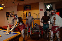 An aboriginal group from Arnhem land, waits for a presentation at the Adelaide Arts Festival.
