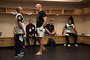 DALLAS, TX - MAY 13:  Junior dos Santos warms up in the locker room before fighting Stipe Miocic during UFC 211 at the American Airlines Center on May 13, 2017 in Dallas, Texas. (Photo by Cooper Neill/Zuffa LLC/Zuffa LLC via Getty Images) *** Local Caption *** Junior dos Santos