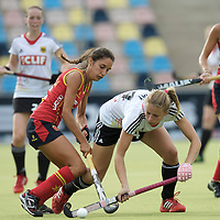 MONCHENGLADBACH - Junior World Cup<br /> Pool D: Germany - Spain<br /> photo: Lara May (white) and Cristina Salvatella (red).<br /> COPYRIGHT  FFU PRESS AGENCY/ FRANK UIJLENBROEK