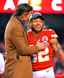 Jan 19, 2020; Kansas City, Missouri, USA; Kansas City Chiefs strong safety Tyrann Mathieu (32) celebrates after beating the Tennessee Titans in the AFC Championship Game at Arrowhead Stadium. Mandatory Credit: Denny Medley-USA TODAY Sports