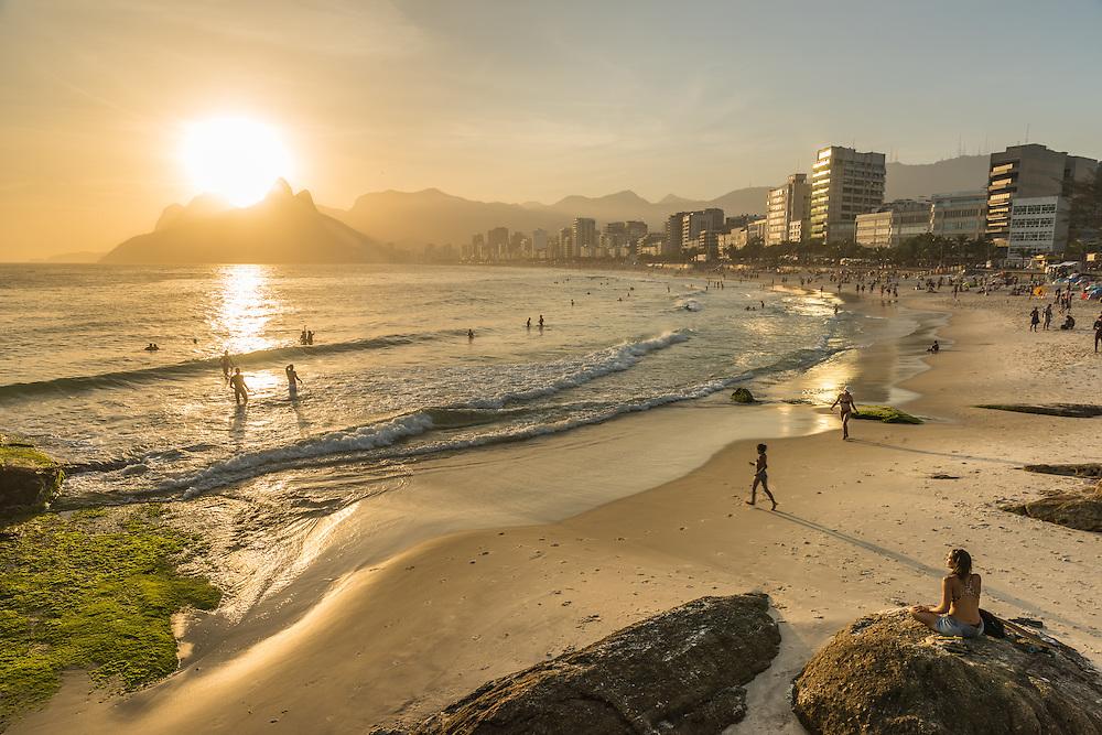 Ipanema beach at sunset, Rio de Janeiro, Brazil.