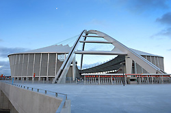 Moses Mabhida stadium Durban, a half moon adds the finishing touch to a spectacular venue which will be host to some of the great footballing nations like Brazil and Spain during africa's first world cup soccer extraviganza. Picture: Steve Lawrence
