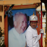 Mourners gather along with others to attend the funeral of former Cambodian King Norodom Sihanouk  Friday Feb. 1, 2013 in Phnom Penh, Cambodia.  The cremation of the former king is set for Feb. 4, 2013.  Sihanouk died last October 15, 2012, in Beijing, China.  He was 89 years old.