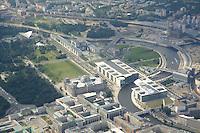 16 JUL 2005, BERLIN/GERMANY:<br /> Berliner Regierungsviertel aus der Luft gesehen: Brandenburger Tor (unten links) mit einem Teil des Tiergartens, , Buerogebaeude des Bundestages, Jakob-Kaiser-Haus (unten mitte), Marie-Elisabeth-Lueders-Haus (unten rechts), Paul-Loebe-Haus (Mitte), Reichstagsbegaeude (Mitte), Bundeskanzleramt (Mitte oben), Lehrter Bahnhof / Hauptbahnhof (oben rechts) und die Spree<br /> IMAGE: 20050716-02-022 <br /> KEYWORDS: Luftaufnahme, Band des Bundes, Uebersicht, Übersicht, Marie-Elisabeth-Lüders-Haus, Paul-Löbe-Haus