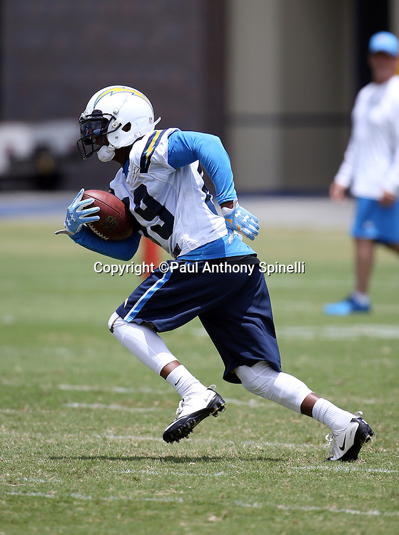 San Diego Chargers wide receiver Isaiah Burse (89) runs with the ball after catching a pass during the Chargers 2016 NFL minicamp football practice held on Tuesday, June 14, 2016 in San Diego. (©Paul Anthony Spinelli)
