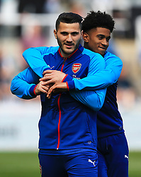 Sead Kolasinac with Reiss Nelson of Arsenal - Mandatory by-line: Matt McNulty/JMP - 15/04/2018 - FOOTBALL - St James Park - Newcastle upon Tyne, England - Newcastle United v Arsenal - Premier League