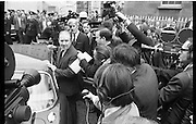 Haughey and Blaney leave the Bridewell   D478.<br /> 1970.<br /> 28.05.1970.<br /> 05.28.1970.<br /> 28th May 1970.<br /> In the aftermath of the arms to the North scandal Mr Charles Haughey TD and Mr Neil Blaney TD were charged in connection with the alledged offence. they were officially charged at the Bridewell in Dublin and were then released on bail pending trial.<br /> Image shows Neil Blaney being mobbed by reporters as he leaves the Bridewell after being released on bail.