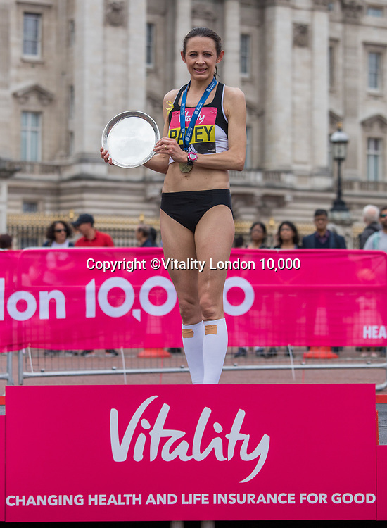 Jo Pavey of Exeter winner the British Championship Women's Race. The Vitality London 10,000, Monday 29th May 2017.<br />