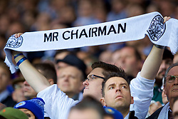 LEICESTER, ENGLAND - Saturday, November 10, 2018: Leicester City supporters hold up scarves to pay tribute to the club's chairman Vichai Srivaddhanaprabha, who died in a helicopter crash on Oct 27, during the FA Premier League match between Leicester City FC and Burnley FC at the King Power Stadium. (Pic by David Rawcliffe/Propaganda)