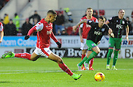 Jonson Clarke-Harris of Rotherham United scores from the penalty spot to make it 2-0 during the Sky Bet Championship match at the New York Stadium, Rotherham<br /> Picture by Richard Land/Focus Images Ltd +44 7713 507003<br /> 28/11/2015