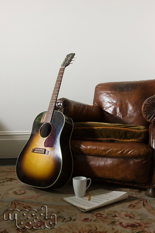 Armchair and guitar