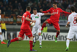 18.02.2016, WWKArena, Augsburg, GER, UEFA EL, FC Augsburg vs FC Liverpool, Sechzehntelfinale, Hinspiel, im Bild Nathaniel Clyne ( FC Liverpool ) Dominik Kohr ( FC Augsburg ) Roberto Firmino ( FC Liverpool ), // during the UEFA Europa League Round of 32, 1st Leg match between FC Augsburg and FC Liverpool at the WWKArena in Augsburg, Germany on 2016/02/18. EXPA Pictures © 2016, PhotoCredit: EXPA/ Eibner-Pressefoto/ Langer<br /> <br /> *****ATTENTION - OUT of GER*****