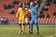 Bristol Rovers Forward, Stefan Payne (9) , Blackpool Defender, Ben Heneghan (6) and Blackpool Goalkeeper, Christoffer Mafoumbi (37)  during the EFL Sky Bet League 1 match between Blackpool and Bristol Rovers at Bloomfield Road, Blackpool, England on 3 November 2018.