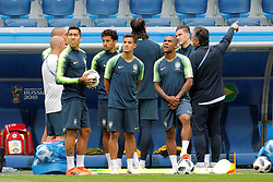 June 21, 2018 - Saint Petersburg, Russia - (L to R) Roberto Firmino, Philippe Coutinho and Douglas Costa during a Brazil national team training session during the FIFA World Cup 2018 on June 21, 2018 at Saint Petersburg Stadium in Saint Petersburg, Russia. (Credit Image: © Mike Kireev/NurPhoto via ZUMA Press)