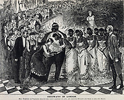 Lesser members of London Society anxious to meet royalty in the person of Cetawayo, exiled King of the Zulus. Cartoon from 'Punch', London, 1879.
