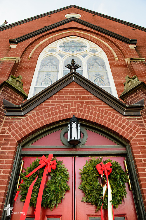The decorated church doors on Wednesday, Dec. 9, 2015, at Trinity Lutheran Church in Soulard, a part of St. Louis. LCMS Communications/Erik M. Lunsford