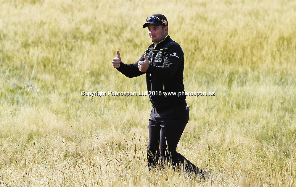 New Zealand's Ryan Fox  after finding his ball in the rough during Round 3 at The Hills during 2016 BMW ISPS Handa New Zealand Open. Saturday 12 March 2016. Arrowtown, New Zealand. Copyright photo: Andrew Cornaga / www.photosport.nz