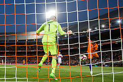 09.06.2017, De Kuip Stadium, Rotterdam, NED, FIFA WM 2018 Qualifikation, Niederlande vs Luxemburg, Gruppe A, im Bild Quincy Promes of Netherlands (R) scores 4-0 and Ralph Schon (L) of Luxemburg // Quincy Promes of Netherlands (R) scores 4-0 and Ralph Schon (L) of Luxemburg during the FIFA World Cup 2018, group A qualifying match between Netherlands and Luxemburg at the De Kuip Stadium in Rotterdam, Netherlands on 2017/06/09. EXPA Pictures © 2017, PhotoCredit: EXPA/ Focus Images/ Joep Joseph Leenen<br /> <br /> *****ATTENTION - for AUT, GER, FRA, ITA, SUI, POL, CRO, SLO only*****