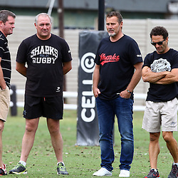DURBAN, SOUTH AFRICA, 13 November 2015 - Sean Everitt (Assistant Coach) with Gary Gold (Sharks Director of Rugby) Robert du Preez ( Assistant Coach) and Paul Anthony ( Assistant Coach) during The Cell C Sharks Pre Season  training for the 2016 Super Rugby Season at Growthpoint Kings Park in Durban, South Africa. (Photo by Steve Haag)<br /> Images for social media must have consent from Steve Haag