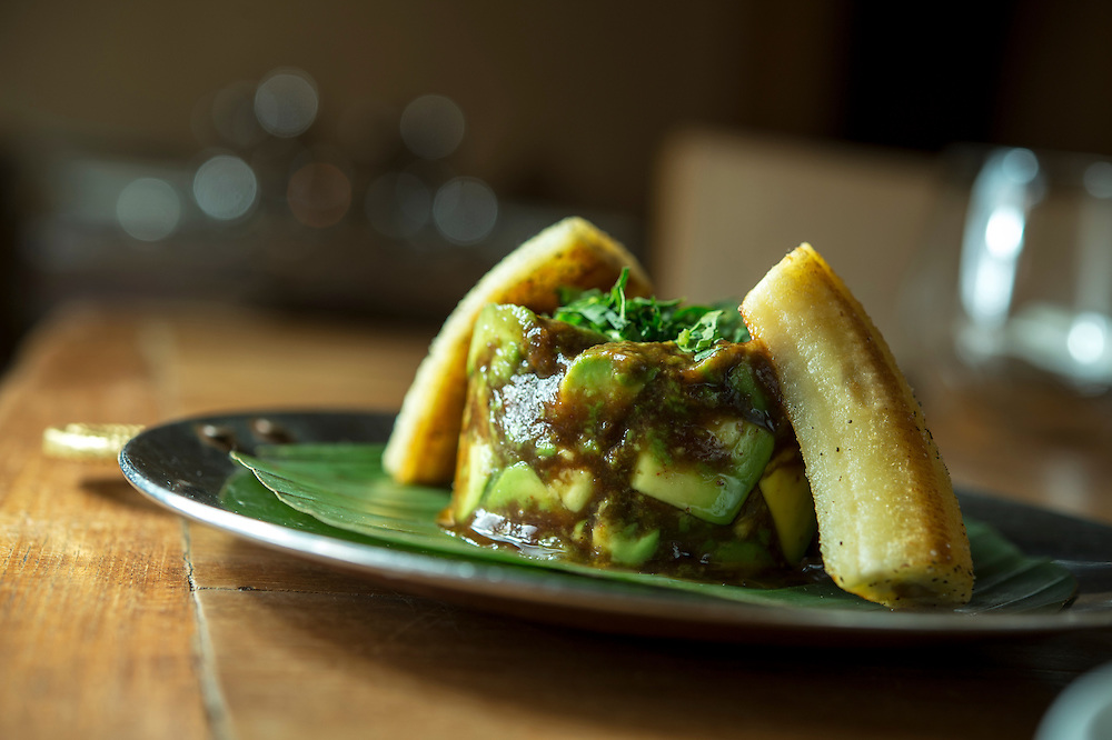 Photo by Matt Roth<br /> Assignment ID: 30142124A<br /> <br /> Avacado Banana Chaat, made with cumin, red chili powder, tamarind, and date chutney, is at Rasika, one of Restauranteur Ashok Bajaj's most popular restaurants in Washington, D.C. on Thursday, May 09, 2013