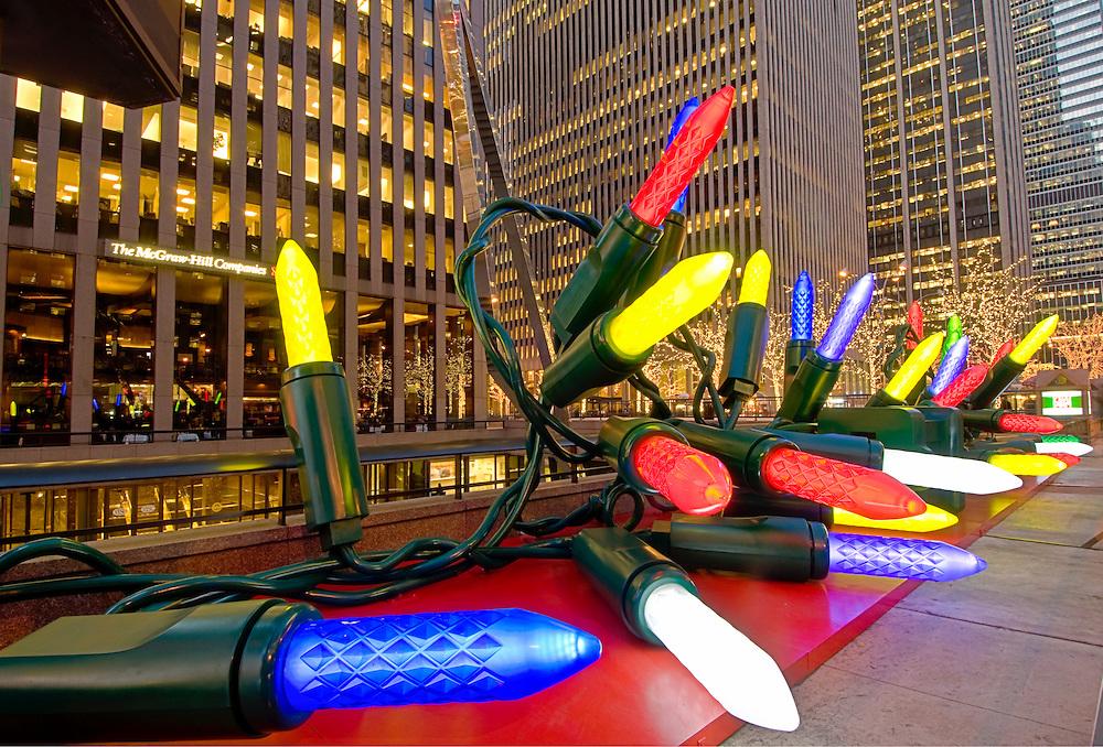 New York, New York , Christmas Lights, New Rockefeller Center, Sixth Avenue, Avenue of the Americas, International Style