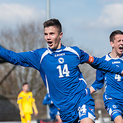 Bosnia and Herzegovina's Amer Gojak celebrates scoring the winning goal. Action from Romania v Bosnia-Herzegovina in the UEFA under 17 Elite Round game at Sommerset Park in Ayr, 26 March 2014. (c) Paul J Roberts / Sportpix.org.uk