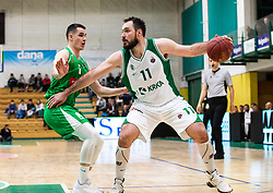 11# Dalibor Đapa of KK Krka Novo mesto, during the basketball match of Nova KBM League between KK Petrol Olimpija Ljubljana and KK Krka Novo mesto, on February 27, 2019, in Novo mesto, Slovenia. Photo by Urban Meglic / Sportida