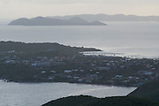 Sunset view from Gorda Peak over Spanish Town and other islands.