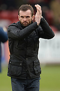 Luton Town Manager Nathan Jones during the Sky Bet League 2 match between AFC Wimbledon and Luton Town at the Cherry Red Records Stadium, Kingston, England on 13 February 2016. Photo by David Vokes.